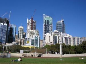 Sydney Skyline With Gutter Cleaners On Building